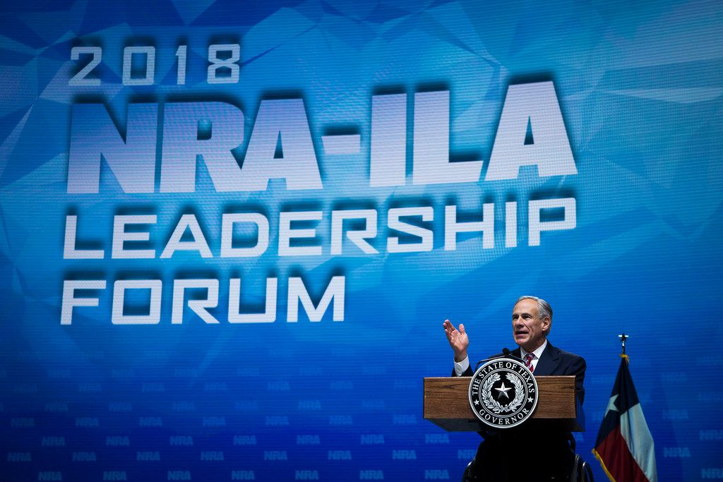 Texas Gov. Greg Abbott addresses the National Rifle Association-Institute for Legislative Action Leadership Forum at the Kay Bailey Hutchison Convention Center on May 4, 2018, in Dallas. (Smiley N. Pool/The Dallas Morning News)