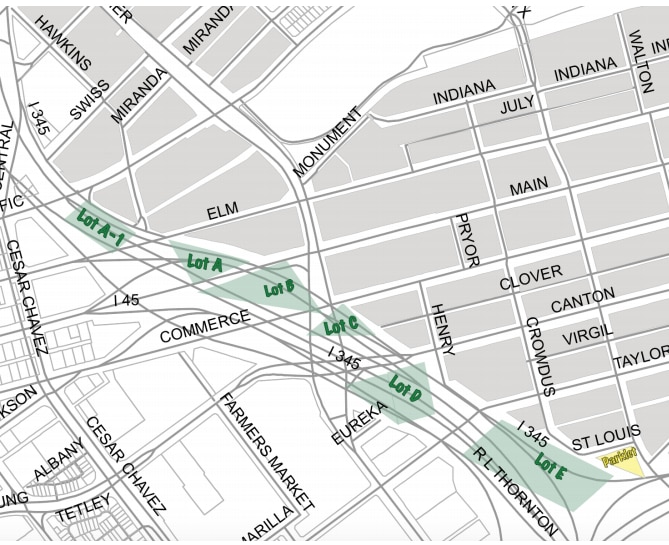 The Deep Ellum Foundation's map, sent to the city, for the lots it long planned for. A, B and C are the only ones there right now. The soccer fields would go where D is in this map.