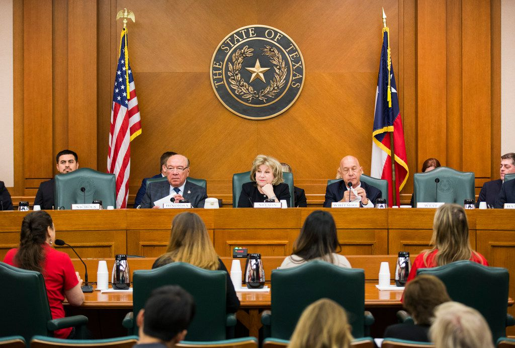Senator Juan Hinojosa of McAllen (center left), Senator Jane Nelson of Flower Mound and Senator John Whitmire of Houston (center right) listen to public testimony on SB3, which would give teachers a $5,000 pay raise next year, on Monday, at a senate committee hearing on February 25, 2019 at the Texas state capital extension in Austin. (Ashley Landis/The Dallas Morning News)