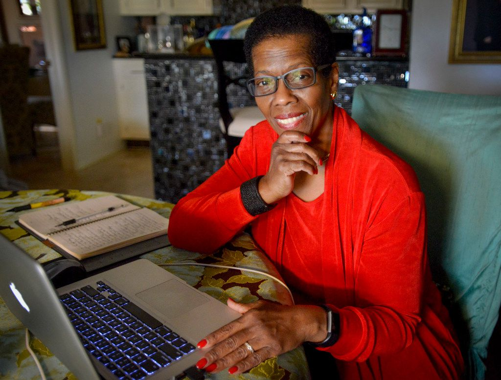 """""""I cannot ever imagine being retired in the traditional sense."""" says Beverley Wright, shown working from her Plano home."""