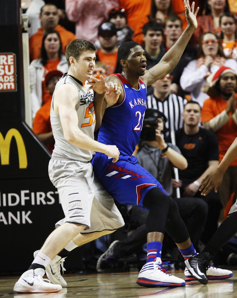 Mason Cox walked on to the Oklahoma State basketball team during his junior year. Here he is pictured as a senior during a spring 2014 game against Kansas.