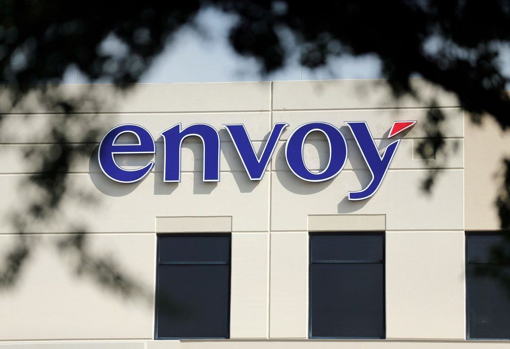 An exterior view of the Envoy headquarters in Irving. Envoy Air Inc. is a subsidiary of American Airlines Group, which provides regional flight service to American Airlines under the American Eagle brand and ground handling services for many American flights.