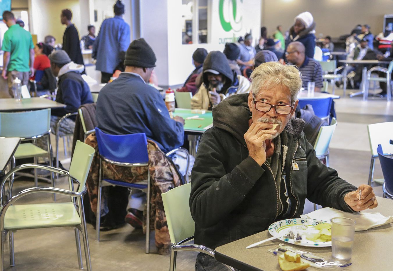 A man eats lunch at Our Calling in Dallas on Dec. 10, 2018.