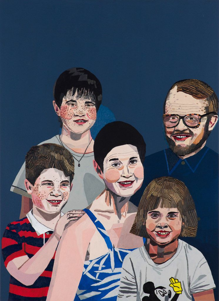 Jonas Wood, Sears Family Portrait, 2011, oil and acrylic on linen, 44 x 32 in., private collection, courtesy the artist and Anton Kern Gallery, New York.