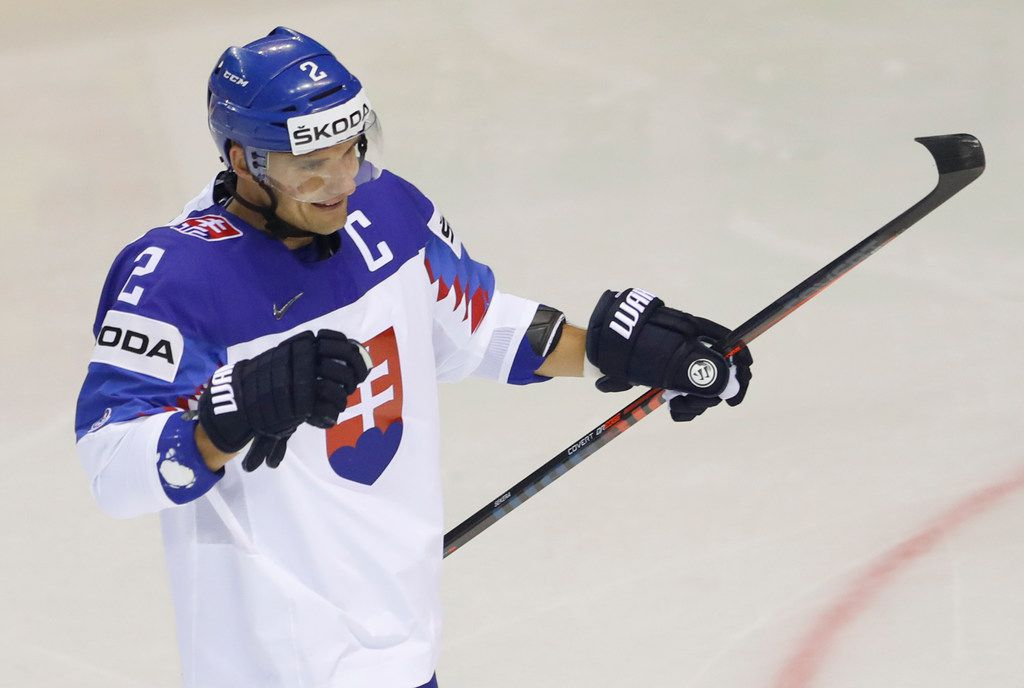 Slovakia's Andrej Sekera celebrates after scoring his sides first goal during the Ice Hockey World Championships group A match between Great Britain and Slovakia at the Steel Arena in Kosice, Slovakia, Saturday, May 18, 2019. (AP Photo/Petr David Josek)