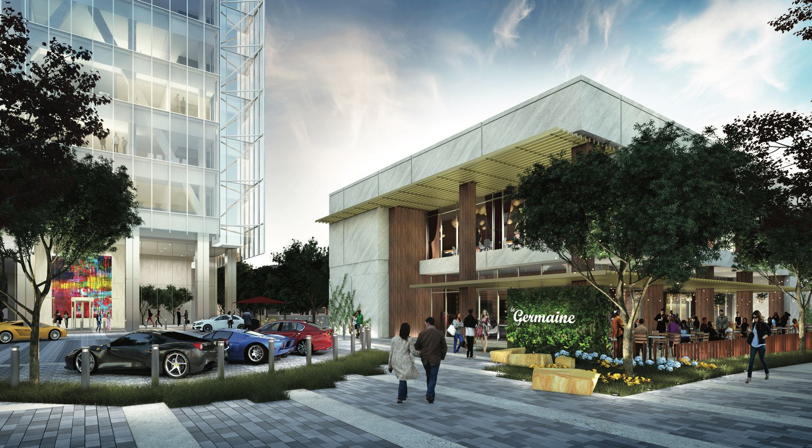 A two-story restaurant building would sit in front of the planned office tower at the corner of Maple and Cedar Springs in Uptown.