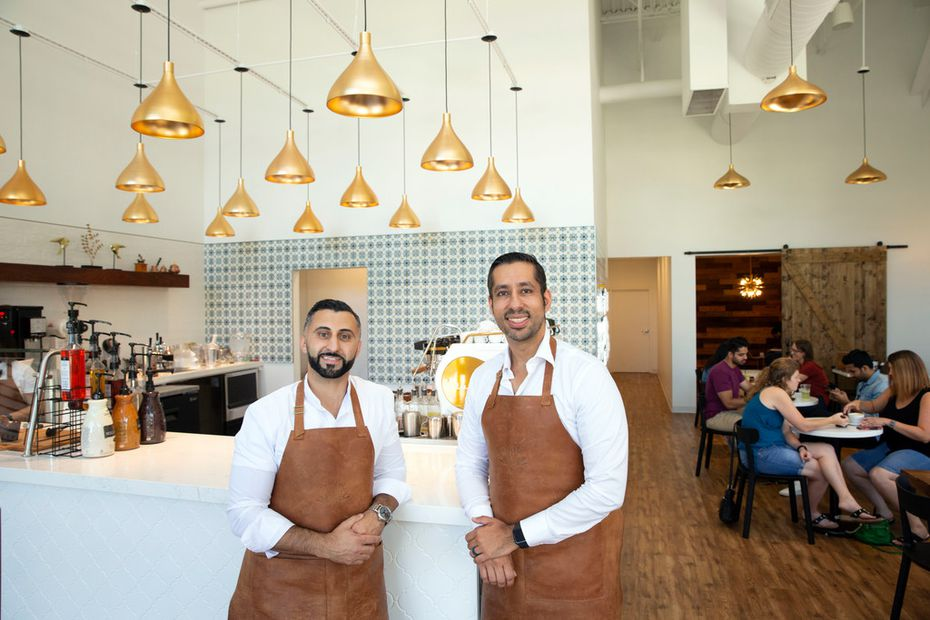 Mamdouh Khayat, left, and Mouyyad Abdulhadi, right, are co-owners of Pax & Beneficia coffee shop in Irving/Las Colinas. Khayat calls Pax & Beneficia 'a modern coffee shop, reflective of worldly travels.'