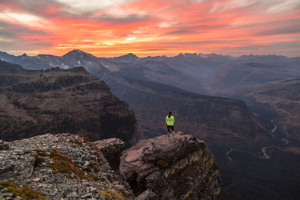 A hiker takes in the expansive scene at Glacier National Park in late September.