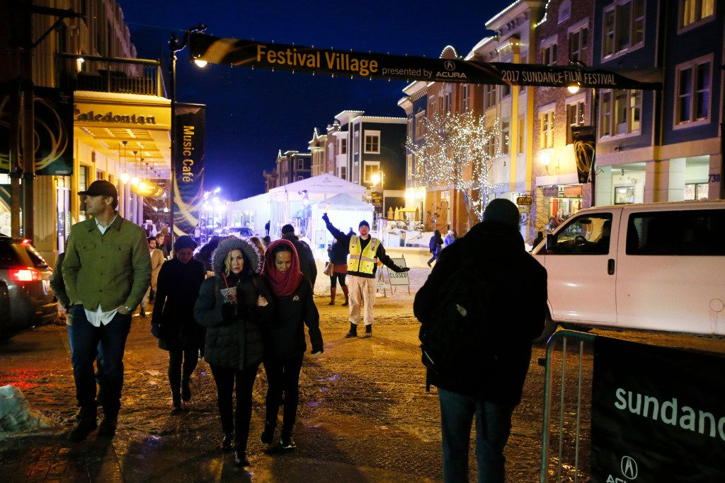 Traffic is diverted away from the north end of Main Street as it is closed for a Sundance Festival Village during the 2017 Sundance Film Festival on Saturday, Jan. 21, 2017, in Park City, Utah.