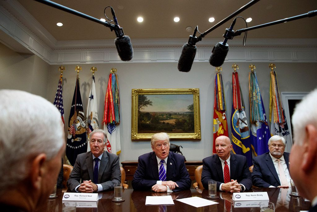 President Donald Trump meets with members of the House Ways and Means committee in the Roosevelt Room of the White House on Sept. 26, 2017. At right, then-chairman Rep. Kevin Brady, R-The Woodlands, and Rep. Kenny Marchant, R-Coppell.