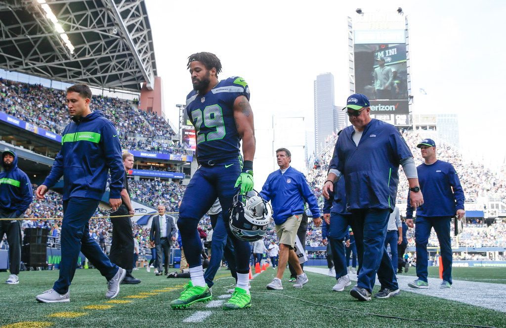 Seattle Seahawks defensive back Earl Thomas (29) walks back into the locker room during the first half of an NFL game between the Dallas Cowboys and Seattle Seahawks on Sunday, September 23, 2018 at CenturyLink Field in Seattle. (Shaban Athuman/The Dallas Morning News)