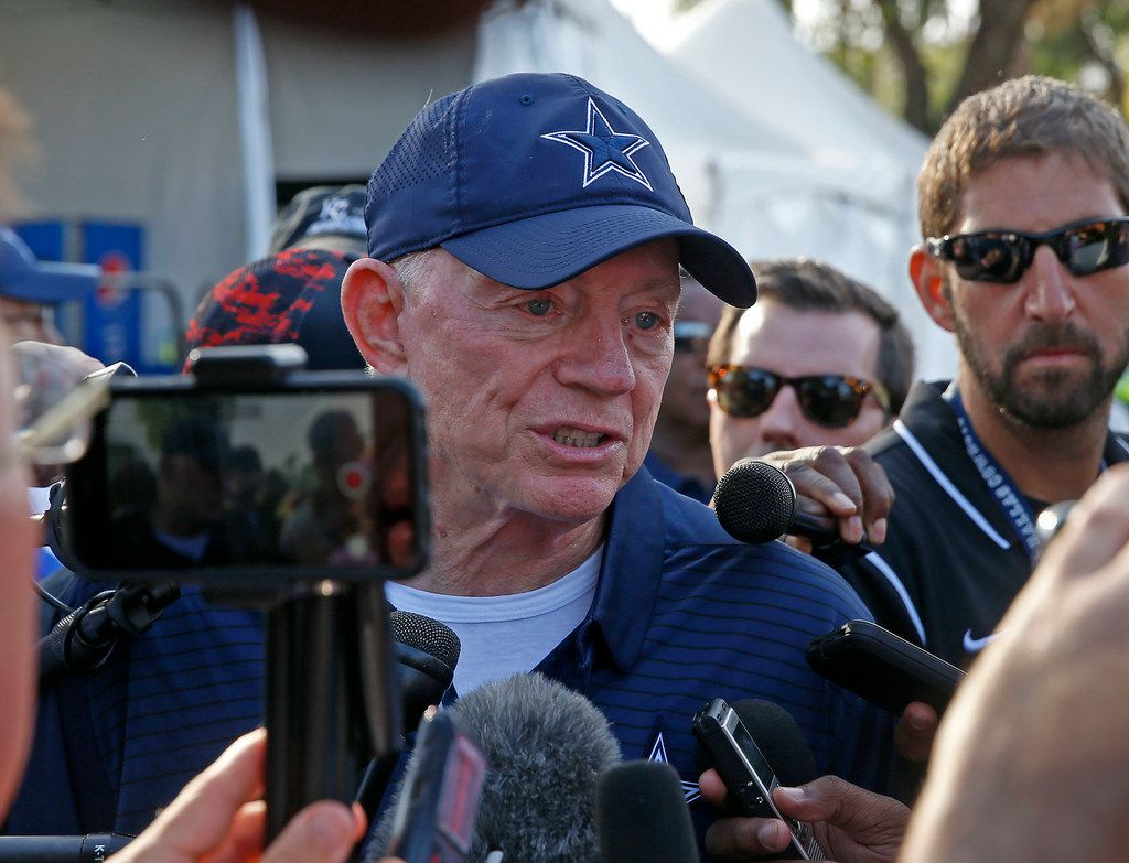 Dallas Cowboys owner Jerry Jones talks with the media after practice at the training camp in Oxnard, Calif., Sunday, July 29, 2018. (Jae S. Lee/The Dallas Morning News)