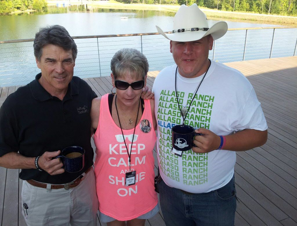 Margy Agar and her son Chris visited with Gov. Rick Perry in Hawkins last month at a camp for Gold Star Families, a support organization.