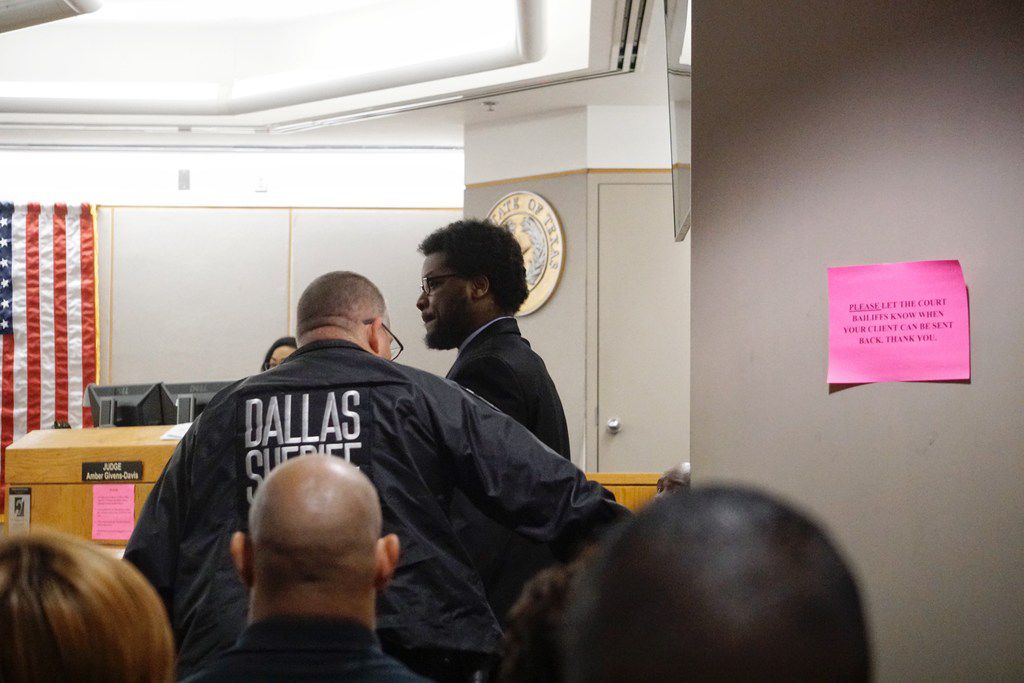 Thomas Johnson enters the courtroom during his murder trial at Frank Crowley Court House in Dallas, on Monday April 29, 2019. The former Texas A&M and Skyline High School football star was charged with murder in October 2015 after police said he killed 53-year-old runner Dave Stevens with a machete on White Rock Creek Trail. (Lawrence Jenkins/Special Contributor)