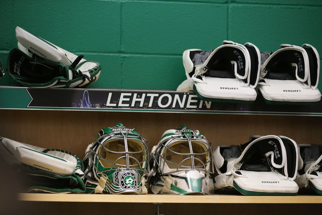 The locker of Dallas Stars goalie Kari Lehtonen during a press conference following the conclusion of the 2017-2018 National Hockey League regular season last Saturday at the Dr Pepper StarCenter Texas Monday April 9, 2018. The Stars finished the season 42-32-8 and sixth in the Central Division. (Andy Jacobsohn/The Dallas Morning News)