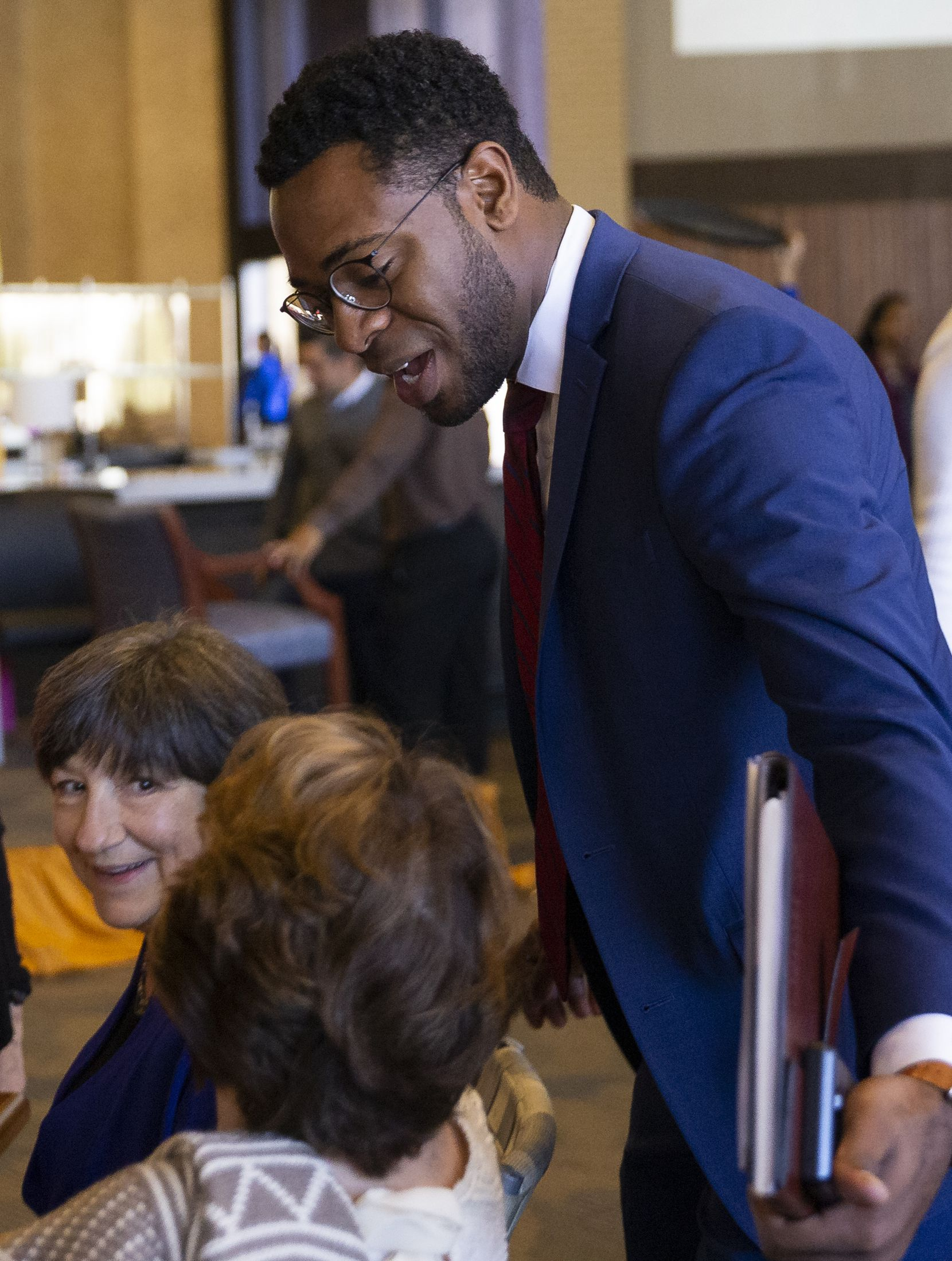 CEO of Big Thought Byron Sanders talks to people attending the Dallas City of Learning event on Dec. 2, 2019 in Dallas. During the event, Dallas City of Learning leaders shared the results of the 2019 summer program and awards. (Juan Figueroa/ The Dallas Morning News)