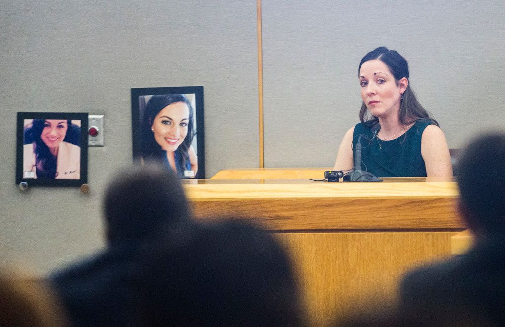 Tami Patano, close friend of Kendra Hatcher, testified during the punishment phase of a capital murder trial for Kristopher Love on Oct. 29, 2018 at the Frank Crowley Courts Building in Dallas. Love was convicted in the 2015 murder of pediatric dentist Kendra Hatcher, pictured at left. He could face the death penalty.