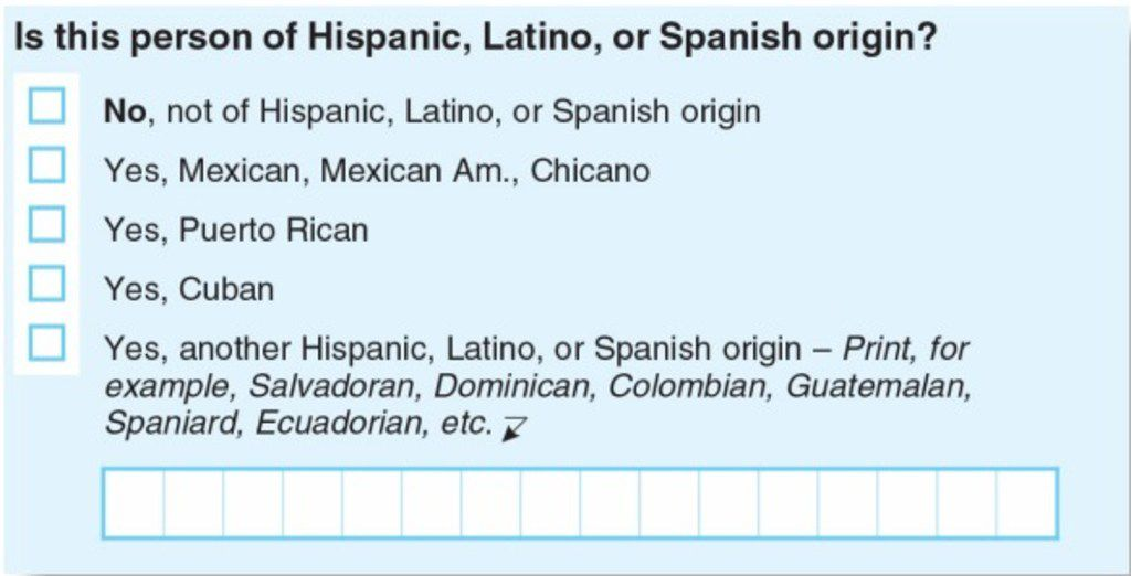The 2020 U.S. census will again ask respondents to answer whether they are of Hispanic, Latino or Spanish origin in a two-question format.