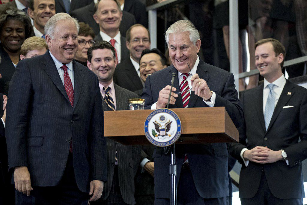 Rex Tillerson speaks Thursday to employees at the State Department in his first full day as secretary of state. (Andrew Harrer/Bloomberg News)