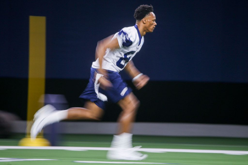 Dallas Cowboys wide receiver Jon'vea Johnson (81) runs through a drill during the Cowboys rookie minicamp practices at The Star in Frisco, Texas on Saturday, May 11, 2019.(Shaban Athuman/Staff Photographer)