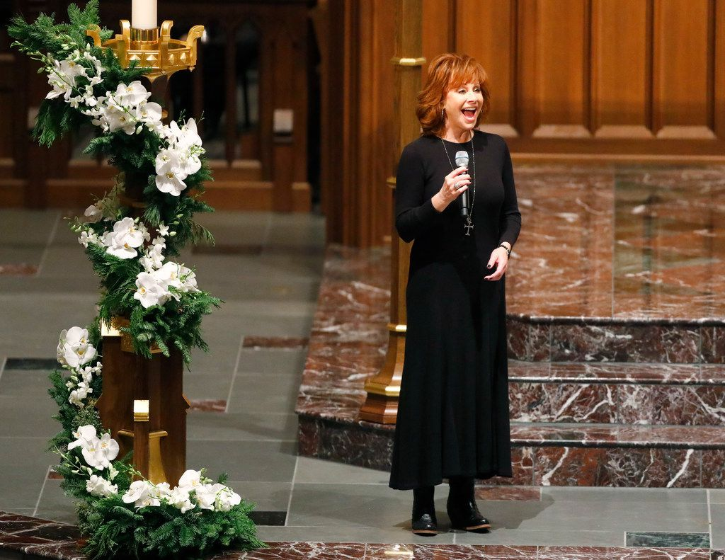 """Reba McEntire sang""""The Lord's Prayer"""" during the funeral service for George H.W. Bush at St. Martin's Episcopal Church in Houston on Thursday, Dec. 6, 2018."""