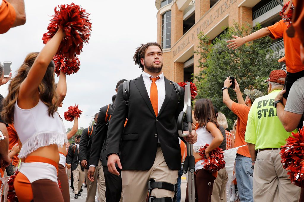 AUSTIN, TX - OCTOBER 07:  Connor Williams #55 of the Texas Longhorns walks into the stadium before the game against the Kansas State Wildcats at Darrell K Royal-Texas Memorial Stadium on October 7, 2017 in Austin, Texas.  (Photo by Tim Warner/Getty Images)