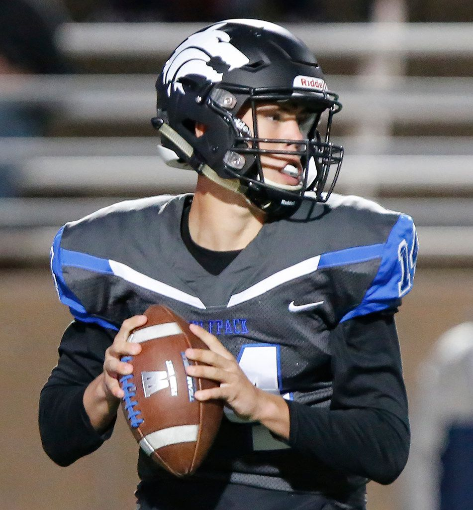 Plano West High School Andrew Picco (14) looks to pass during the first half as Plano West High School hosted McKinney Boyd High School at Clark Stadium in Plano on Friday night, October 11, 2019. (Stewart F. House/Special Contributor)