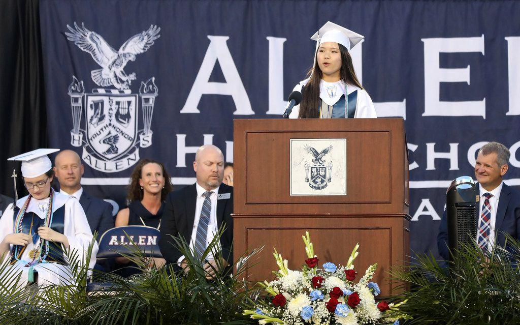 Valedictorian Samantha Cheng delivers her speech during the Allen High School graduation at Eagle Stadium in Allen, Texas, Friday evening, June 1, 2018. (Anja Schlein/Special Contributor)
