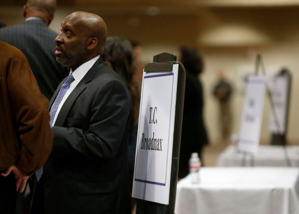T.C. Broadnax, a city manager candidate, speaks to community members during a meet and greet with city manager candidates at Dallas City Hall on Tuesday, Dec. 6, 2016. (Rose Baca/The Dallas Morning News)