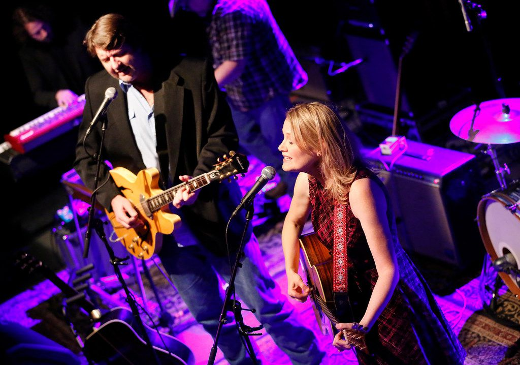 Bruce Robison (left) and wife Kelly Willis perform their Holiday Shindig, a recurring Christmas concert, at The Kessler Theater in Dallas, Friday, December 14, 2018.