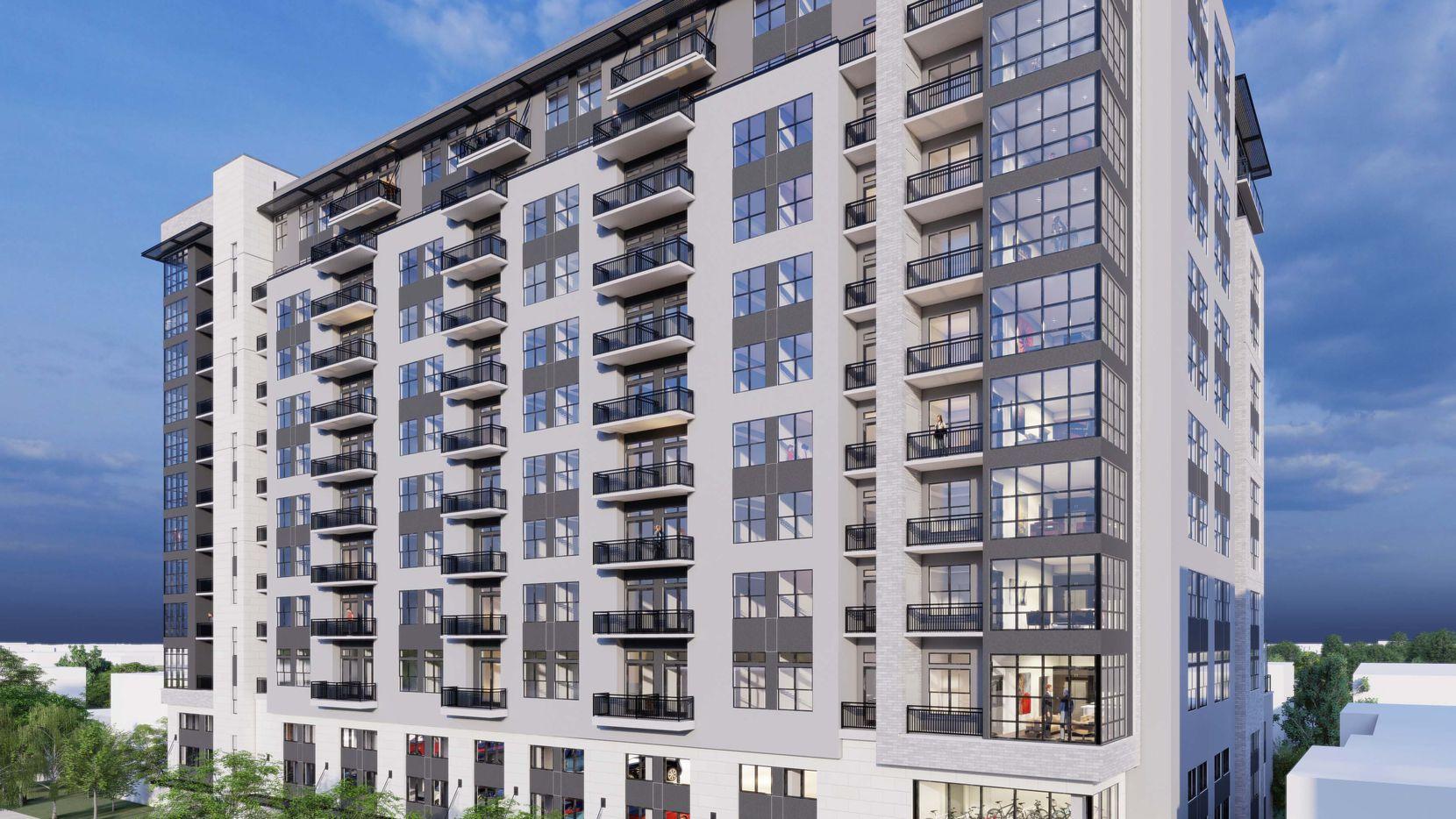 The Alexan Oak Grove apartment tower is being built on Oak Grove Avenue near Hall Stree