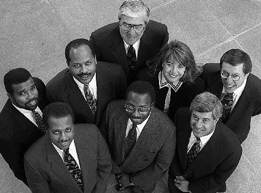 Don Hill (second row, first on the left) was a partner in the law firm White Hill, an African-American firm in Dallas that collaborated with Jones Day, one of the largest firms in the U.S.