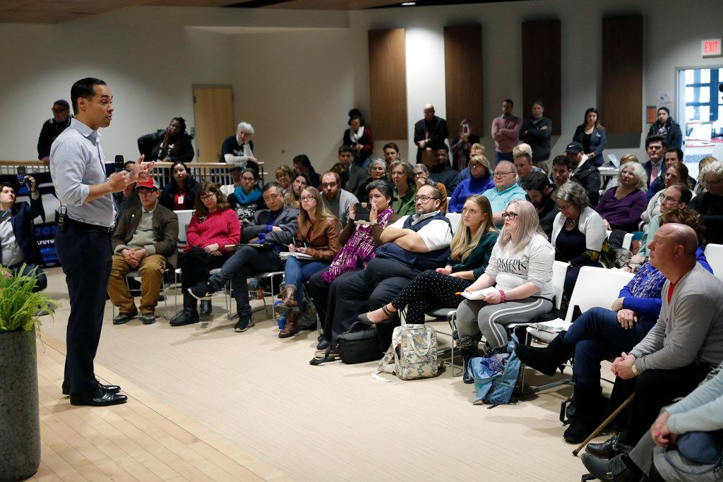Iowans listened to Julián Castro, the former San Antonio mayor and U.S. housing secretary who's now a Democratic presidential candidate, during a town hall meeting Thursday at Grand View University in Des Moines, Iowa.