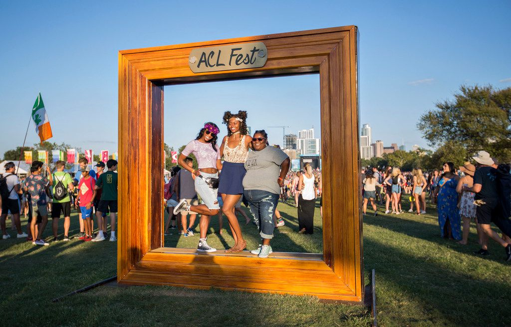 (From left) Kapetnich Wallace-May (cq), came to ACL with her friends Ashley Oliphant (cq), and Candice Satchell to celebrate her birthday during the three day weekend at the Austin City Limits music festival on October 6, 2017 in Austin, Texas. (Thao Nguyen/Special Contributor)