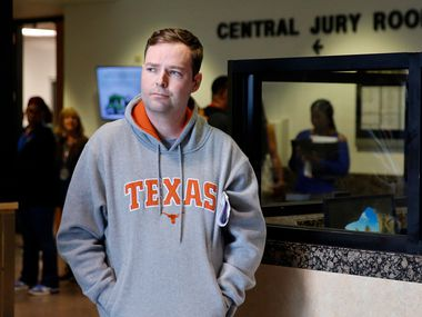 People gathered around the Frank Crowley Courthouse central jury room to see Austin Shuffield as he waited for a ride after he was released on $1,000 bond March 29.