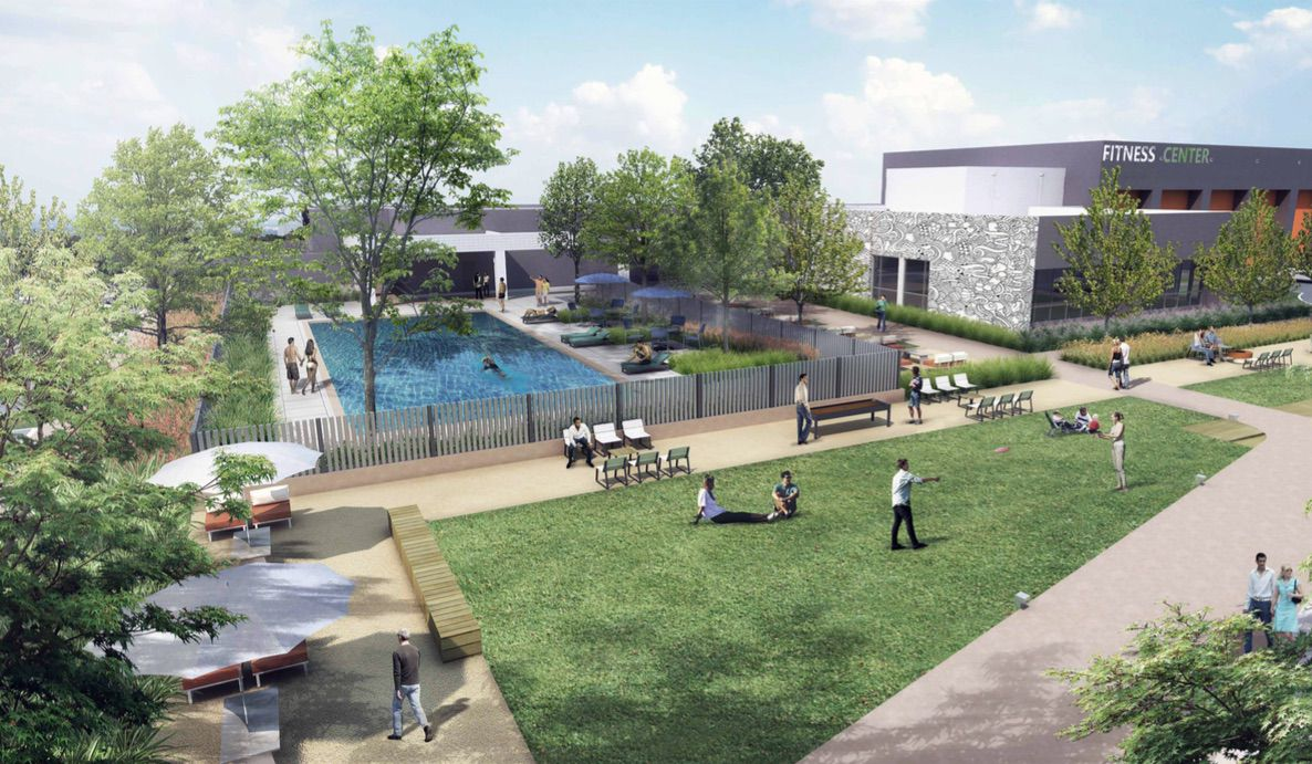 Greenspace and the fitness center at Legacy Central.