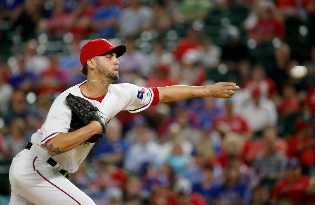 Texas Rangers relief pitcher Alex Claudio (58) throws a pitch against Philadelphia Phillies during the 8th inning at Globe Life Park in Arlington, Texas, Tuesday, May 16, 2017. (Jae S. Lee/The Dallas Morning News)