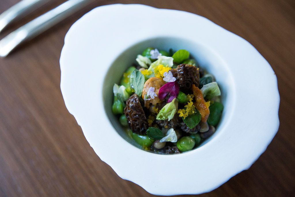 Sea urchin custard topped with morels, favas, English peas and purple hull beans
