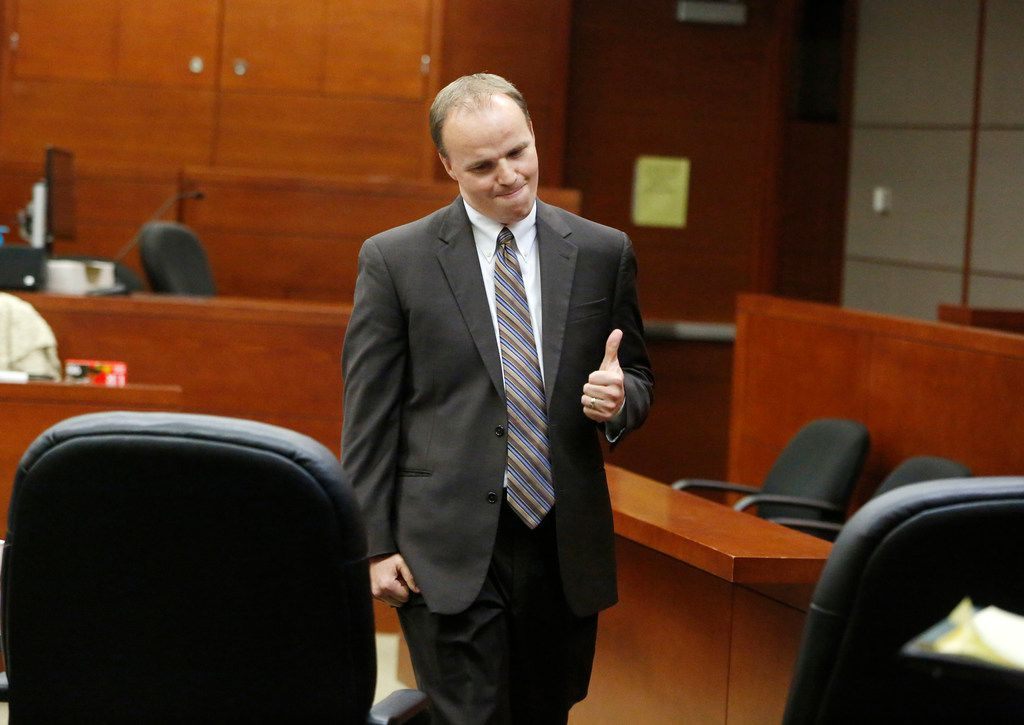 Stacey Jackson's lawyer Joshua J. Bennett gives the thumbs up after a jury found Beamers bar partially liable for the death of Jerry Brown after being killed by Dallas Cowboys player Josh Brent while driving intoxicated, at George L. Allen, Sr. Courts Building in Dallas on Dec 13, 2018.