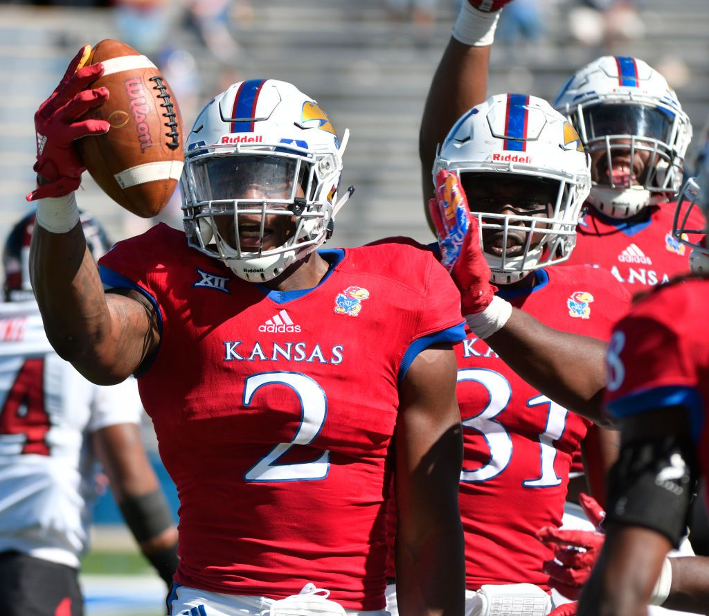 LAWRENCE, KS - OCTOBER 7: Dorance Armstrong Jr. #2 of the Kansas Jayhawks celebrates after recovering a fumble against the Texas Tech Red Raiders in the third quarter at Memorial Stadium on October 7, 2017 in Lawrence, Kansas. (Photo by Ed Zurga/Getty Images)