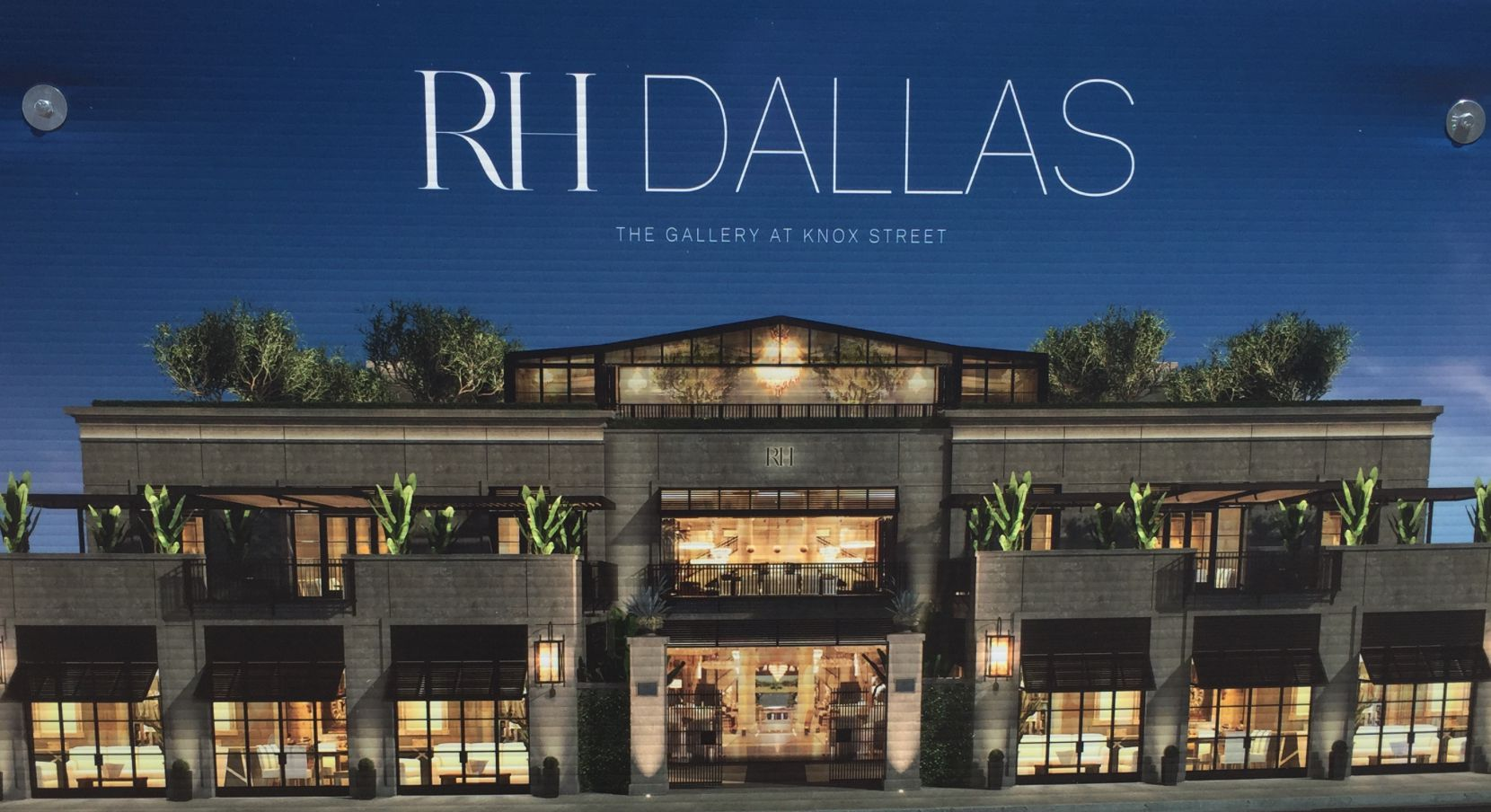 Restoration Hardware has posted renderings for the new Knox Street store on the construction fence  around the site.