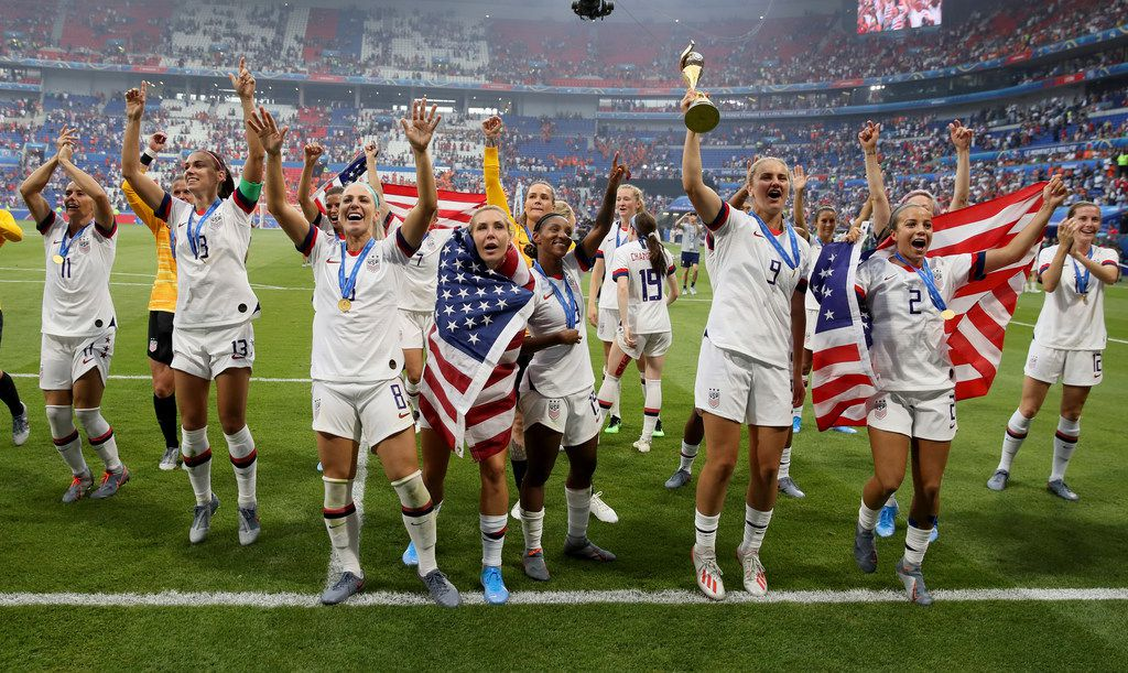 U.S. players celebrate their victory in the Women's World Cup final soccer match between U.S. and the Netherlands at the Stade de Lyon in Decines, outside Lyon, France, on July 7, 2019. The U.S. won 2-0.