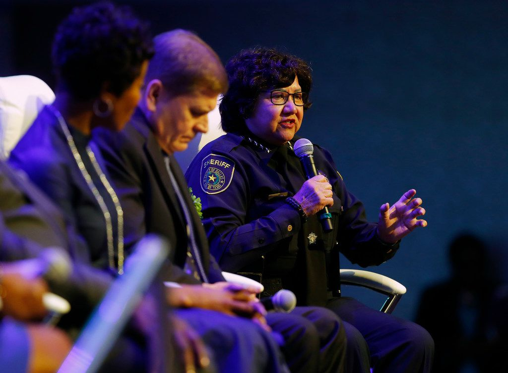 Dallas County Sheriff Lupe Valdez speaks during the Blue on the Block community meeting at The Potter's House in Dallas on Saturday.