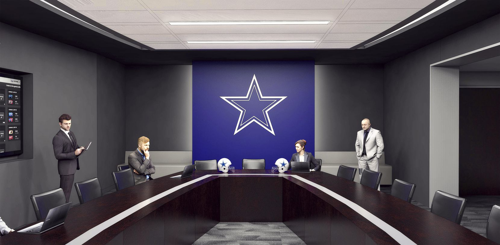 An artist's rendering of what the Cowboys' new digital war room will look like at their new headquarters, The Star in Frisco.