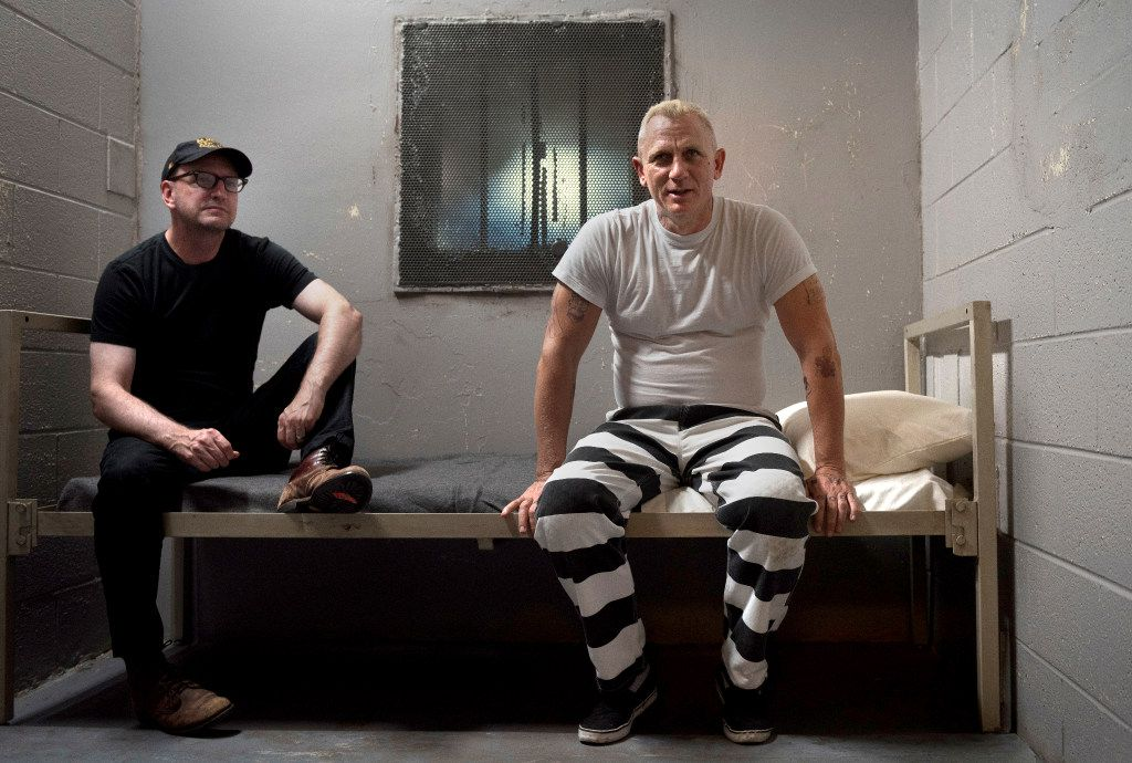He's back! Steven Soderbergh, left, and actor Daniel Craig on the set of their film Logan Lucky.