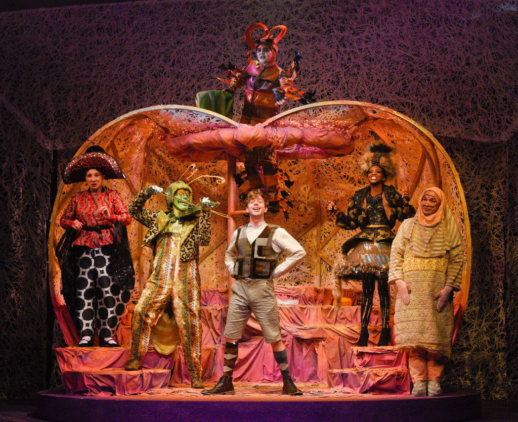 Allison Bret, Paul T. Taylor, Christopher Sykes, Jori Jackson, Seth Magill as their characters Ladybug, Old Green Grasshopper, James, Miss Spider, and Earthworm; (above) Alex Heika as Centipede in James and the Giant Peach presented by Dallas Children's Theater.