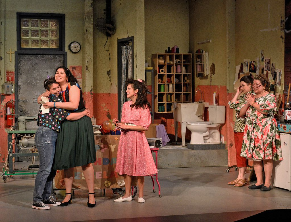 The cast of Real Women Have Curves, playing at the Dallas Theater Center through May 19, 2019.