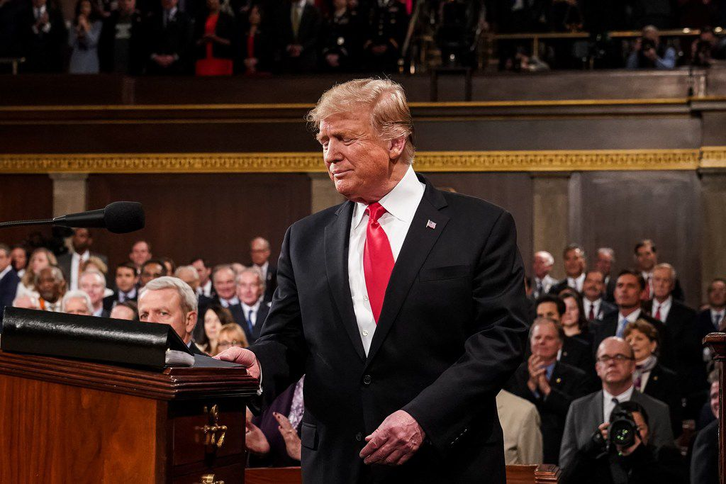 President Donald Trump arrives to deliver the State of the Union address at the U..S Capitol in Washington, DC.