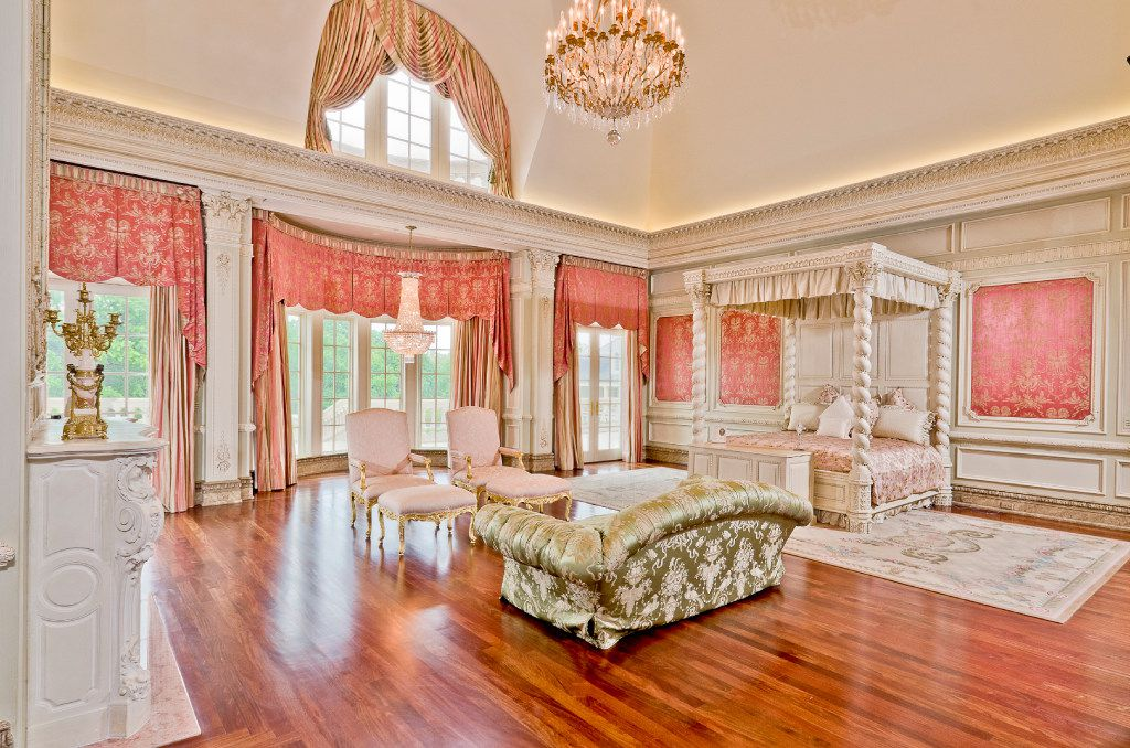 A bedroom in the Champ d'Or estate in Hickory Creek, Texas.