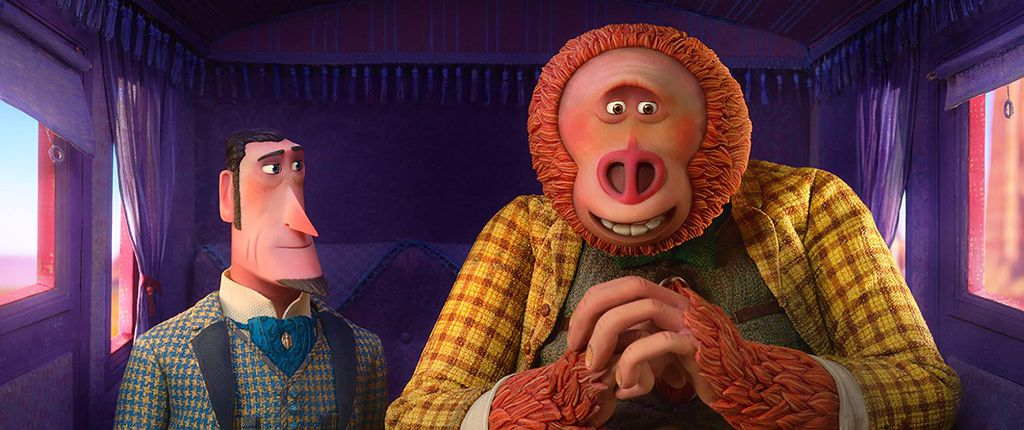 "Zach Galifianakis y Hugh Jackman en ""Missing Link."" (Laika Studios/Annapurna Pictures)"